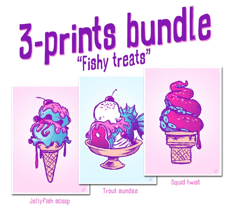 Ice cream poster  Jellyfish wall art squid poster image 0