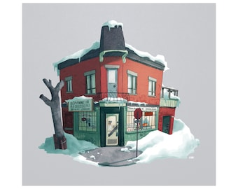 Montreal Print - Corner store illustration