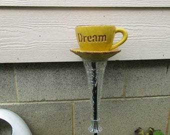 "New Yellow ""Dream"" Coffee Cup Planter Garden"