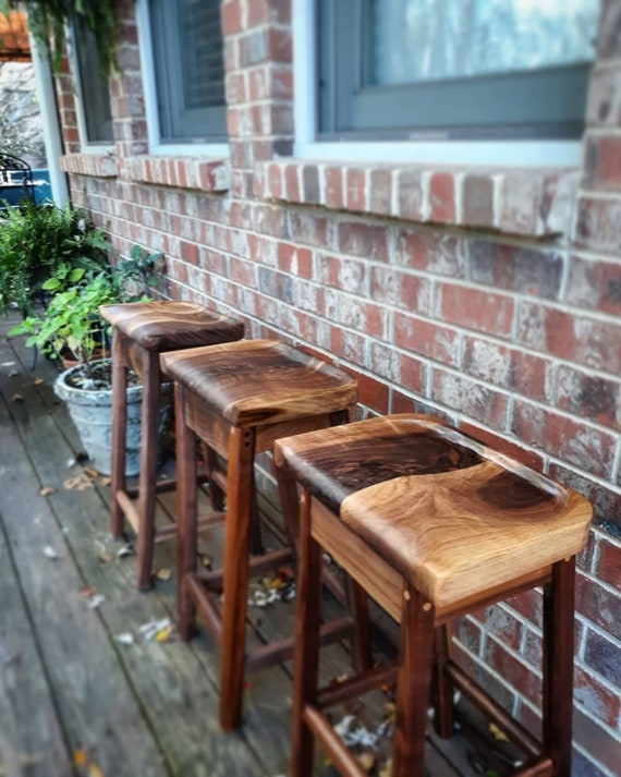 Marvelous Sculpted Walnut Bar Stools Rustic Dining Chair Wooden Bar Stools Custom Heights Barstools Bralicious Painted Fabric Chair Ideas Braliciousco