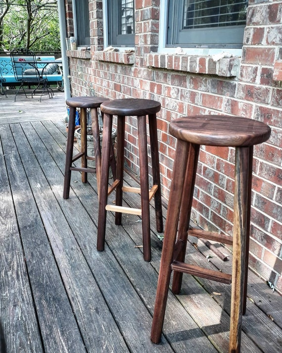 Amazing Wooden Bar Stools Black Walnut Stools 32 Inches 30 Inches 28 Inches Pabps2019 Chair Design Images Pabps2019Com