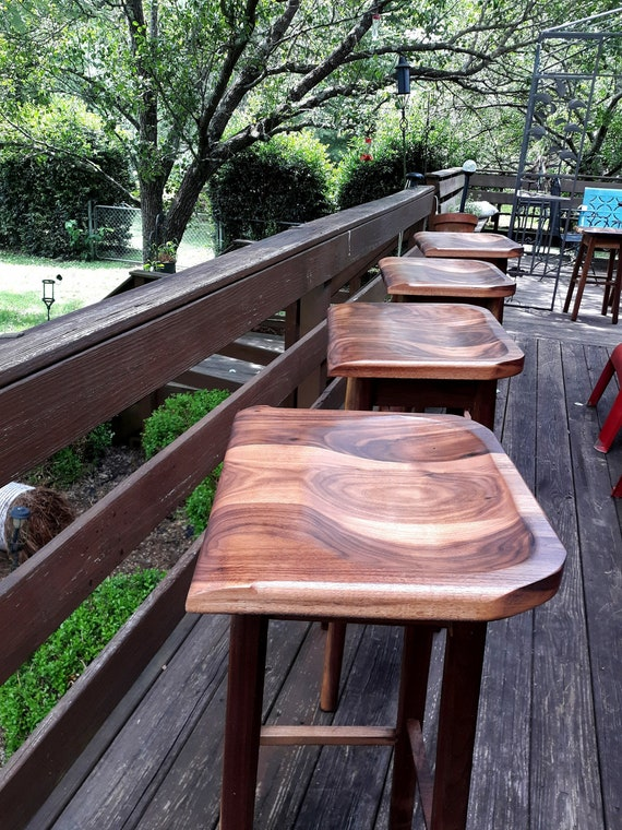 Pleasing Wooden Bar Stools Black Walnut Sculpted Bar Stools Custom Heights Available Barstool Bralicious Painted Fabric Chair Ideas Braliciousco
