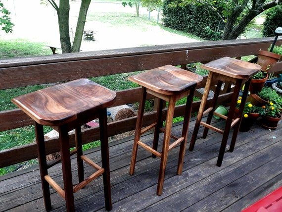 Amazing Wooden Bar Stools Black Walnut Sculpted Bar Stools Custom Heights Available Barstool Caraccident5 Cool Chair Designs And Ideas Caraccident5Info