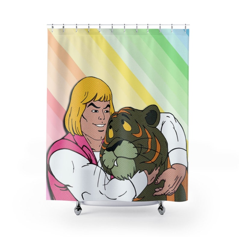 HeMan Masters Of The Universe Shower Curtain Funny Cartoon