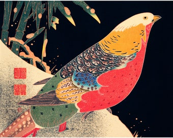 Oriental Reproduction Print on Canvas Roosters by Japanese Artist Ito Jakuchu