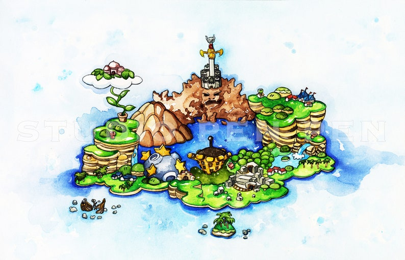 Super Mario Rpg World Map Limited Edition Archival Print Etsy