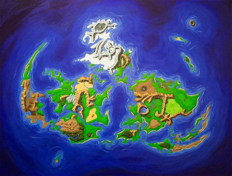 Final Fantasy 7 World Map Archival Print Etsy