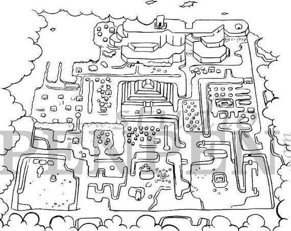 The Legend Of Zelda Hyrule And Dark World Coloring Pages Digital Download