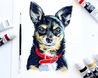 Custom Modern Pet Portrait, Dog Painting, Cat Painting Gouache Realistic Painted Pet Portrait, Custom Gift Idea, Unique Gift, Christmas Gift
