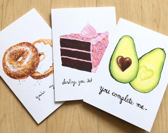 Funny Card Set, Romantic Cards, Cute Funny Cards,  Anniversary Cards, BFF,  Food Pun Cards, Card Bundle Set of Three