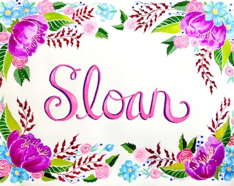 Customized Baby Name Nursery Art Floral Flower painting with Calligraphy in Gouache and Watercolor