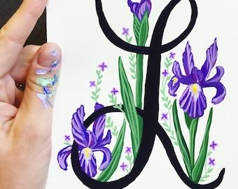 Hand Painted Letter, Custom Monogram, Floral Letter Illustration, Nursery Decor, Custom Letter Painting Illustration