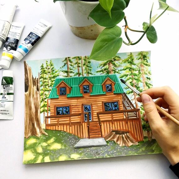 Custom Modern House Portrait, House Painting, Gouache House Portrait, House Warming, Home Painting, House Illustration, Gift Idea