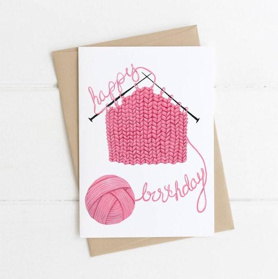 Crafter Birthday Card, Knitter Card, Crochet Card, Cute Knitting Happy Birthday Card 5x7