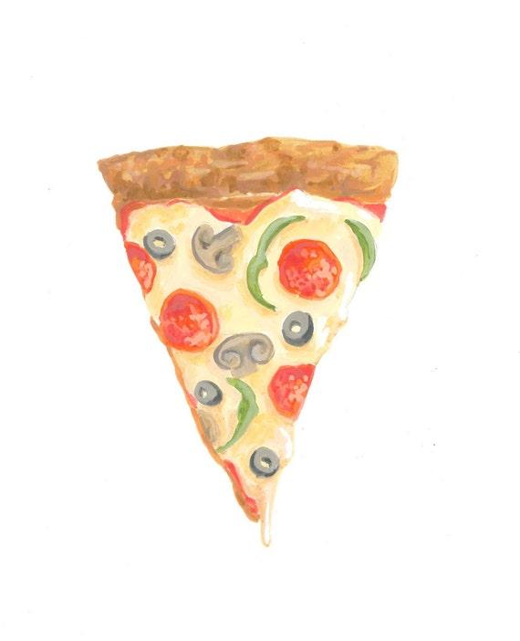 Slice of Heaven, Pizza Painting, Cheesy Pizza, Cute Pizza, Dorm Decor, Art Illustration Print 5x7