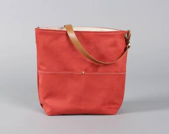 Red Tote Bag, Bucket Bag, brick Bag, Hobo Tote, Casual Tote Bag, Handbag, Red tote bag, Brick bucket bag, Lagut, Weekend Bag, canva tote bag