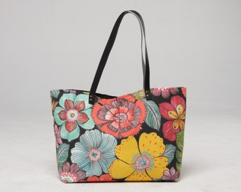 e6bafee6641 Canvas Tote Bag, Beach tote Bag, Casual Tote Bag, leaves and flowers Bag, Summer  Tote bag, flowers Bag, tropical tote bag, Lagut, plants bag