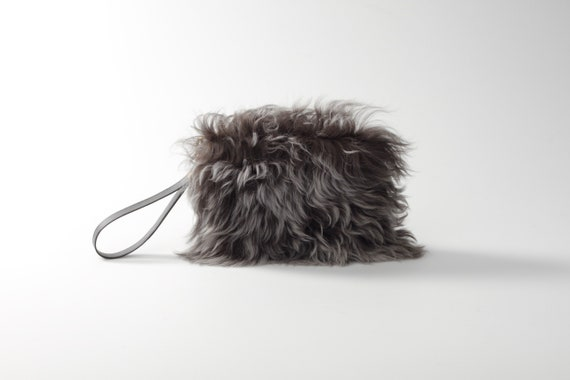 ef00b0a2f2aa Gray furry bag Gray Rabbit leather bag rabbit hair bag
