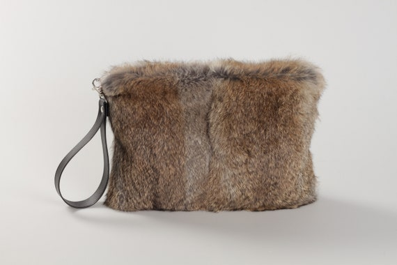 54440e255975 Gray furry bag Gray leather handbag leather clutch bag gray