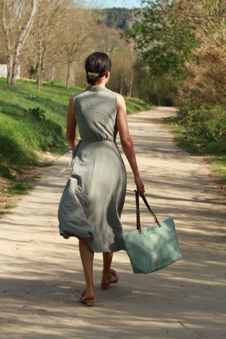 Green bag Eco bag Linen Tote Bag Green linen bag Linen Bag Summer bag Large linen bag linen Bucket Bag Maxi tote bag Natural bag