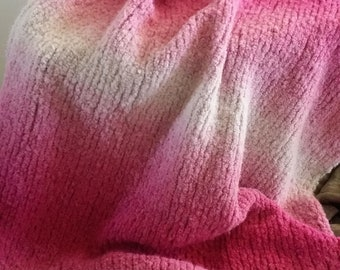 """Ladies pink ombre wrap, hand knitted, 26.5x72"""""""
