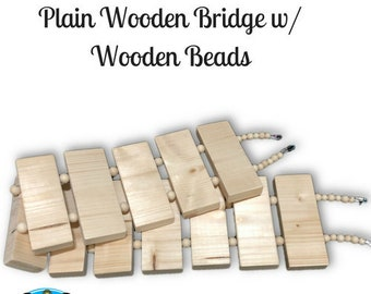 Plain Wooden Bridge w/ Wooden Beads-NEW safe & easy to hang clips