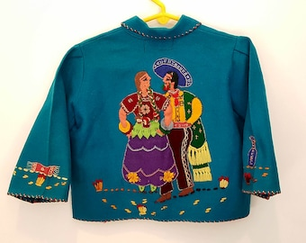 ON SALE Vintage Hand Made Guillermo Guevara 100% Wool Child's Jacket, Made in Mexico