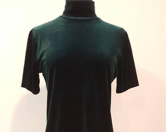 44487d176a98b Vintage 90s Deep Green Stretch Velvet Short Sleeve Shirt