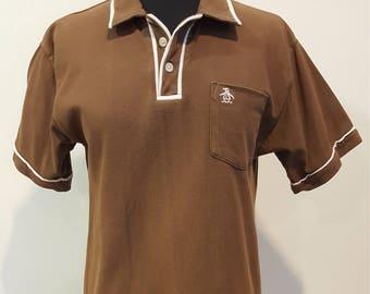 7ff84ac3 Vintage Penguin Kids Brown w White Trim Collared Shirt, Junior Size XL