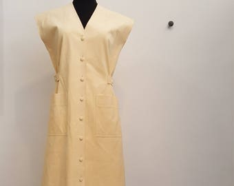 Vintage Ultra Classics Mellow Yellow Microsuede Button Front Dress, Size M