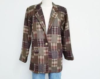 80s Velvet Floral Patchwork Blazer Jacket Long Sleeve Vintage Small