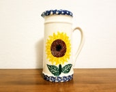 Vintage Crop Shop Floral Sunflower Tall Country Flowered Pitcher Vase Made in Santa Ana, CA USA Hand Painted, Country Kitchen, Sunflowers