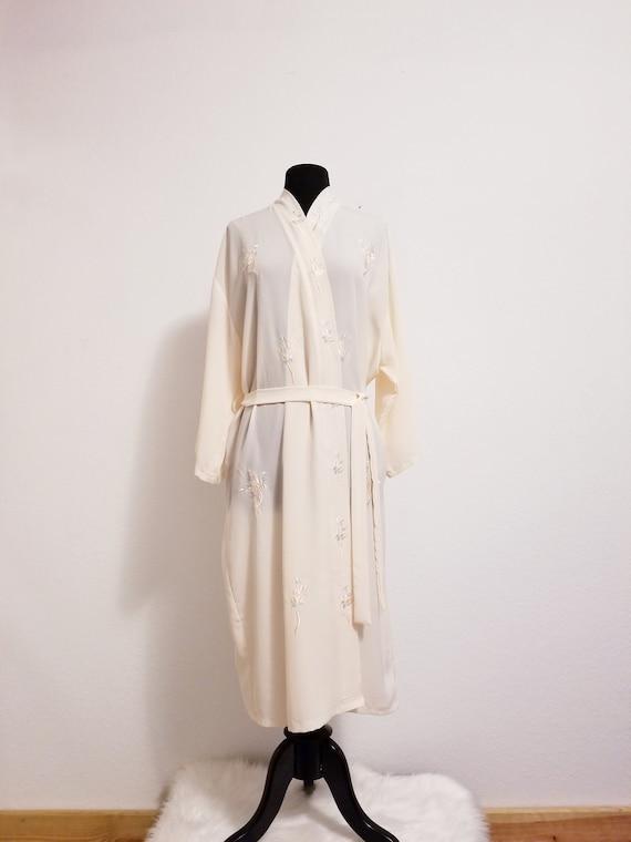 a51ce9c1af5 Vintage Pale Rose Pink Dressing Gown Robe Peignoir w