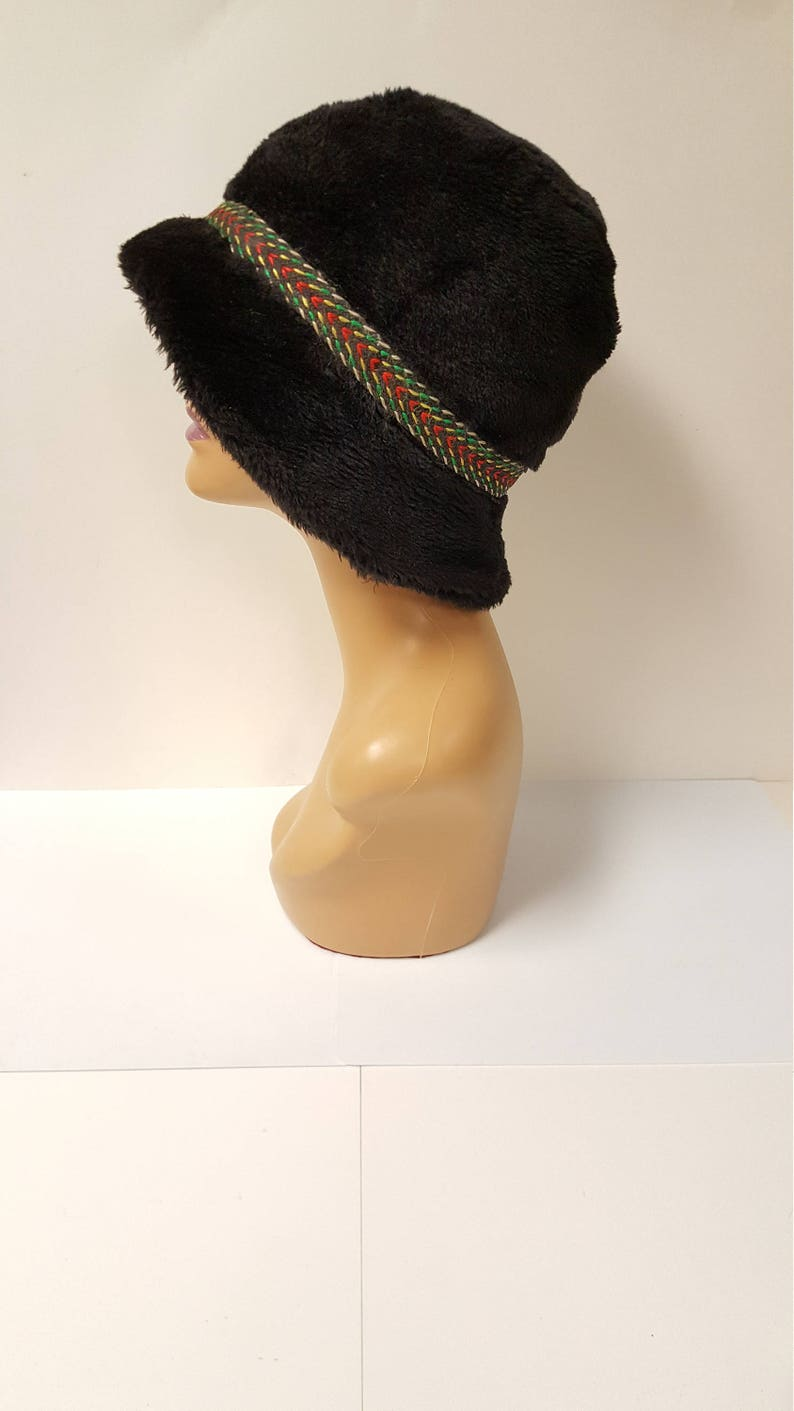 fae225b72a4 Vintage Unisex Black Faux Fur Bucket Hat with Braided Rasta Colored Band
