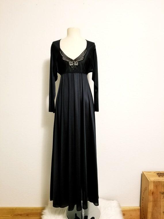 Evening Gown Negligee Night Dress Petite Lingerie Black Chiffon Night Gown 50/% Off Vassarette 34