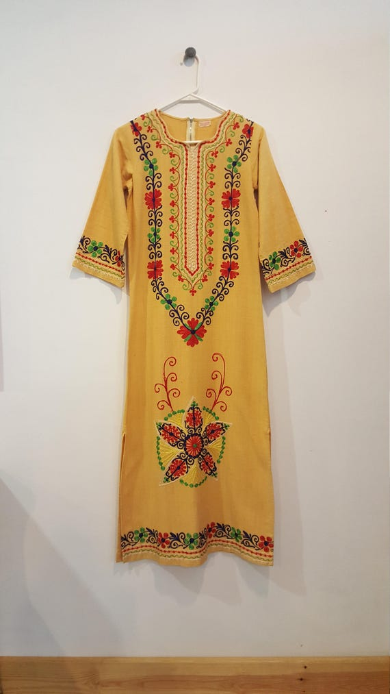 Vintage 70s Pakistani Floral Embroidered Boho Maxi Cotton Etsy