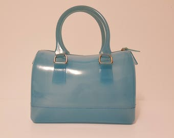 Vintage Top Handle Iridescent Baby Blue Jelly Bag