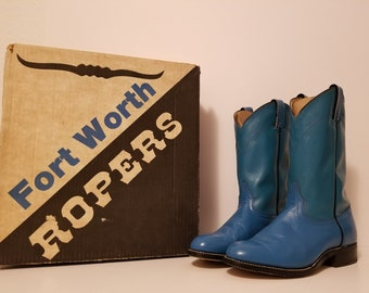 Vintage Turquoise Leather Roper Western Cowboy Boots, Size 7 1/2