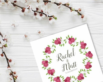 Premade Custom Wedding Logotype with Roses Design, Monogram with Floral Design, for Wedding Gifts, Floral Wreath, Branding