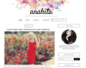 Premade Blogger Template responsive lifestyle fashion beauty food travel makeup feminine blog theme - Anahita ( Free Installation )