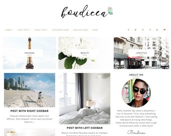 Free Installation - Wordpress blog Theme, Ecommerce Theme Responsive Blog Theme, 17 Layouts - 7 custom pages - Premium Design- Boudicea