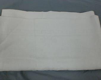 Vintage woven linen white tablecloth.