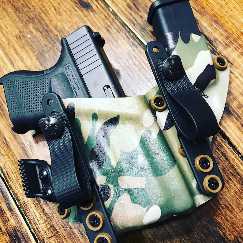 Glock 19 G19 G17 G22 Multicam Tan Kydex Holster Sidecar With Surefire TLR-1  TLR1 APLC Appendix USA Made Burly Man Tactical Surefire