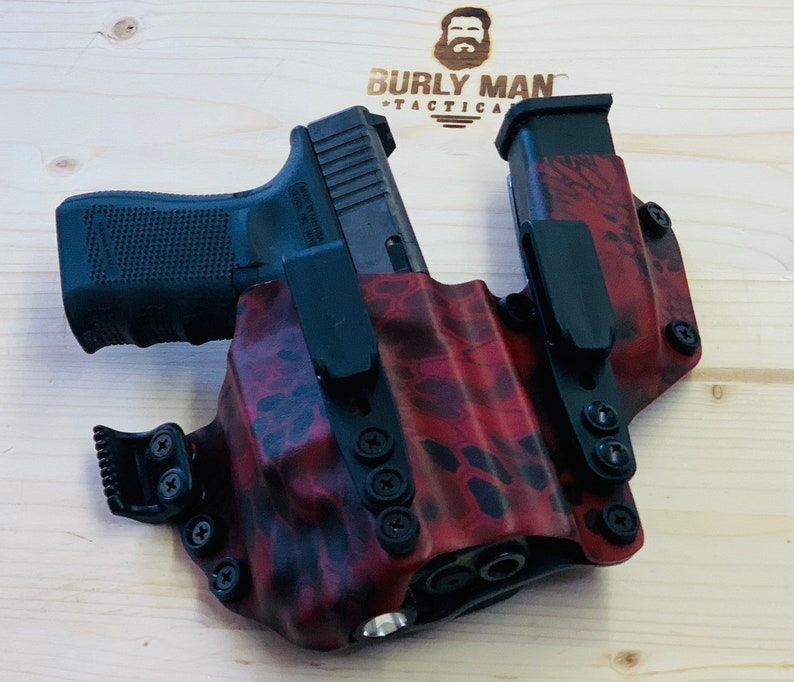 Glock 19 G19 G-19 with Inforce APLC Kryptek Blood Red and Urban Grey Kydex  Holster Sidecar With Appendix USA Made Burly Man Tactical
