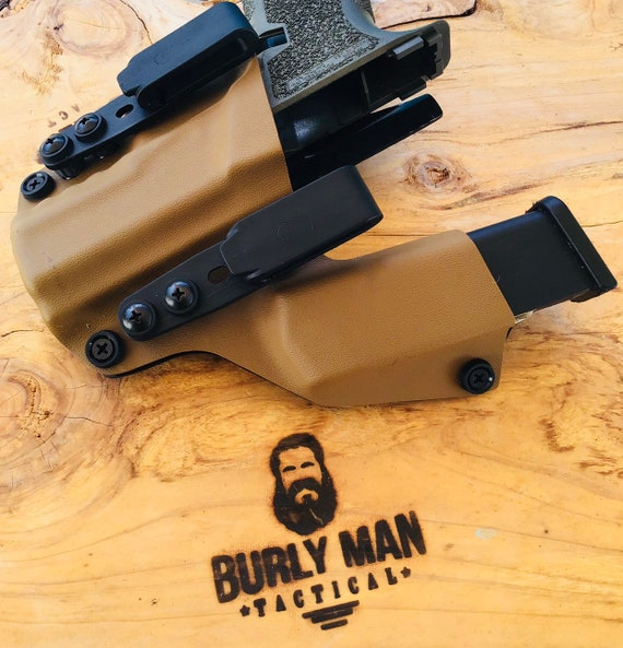 Poly 80 PF940C Polymer 80 Glock 19 G19 G23 G32 Kydex SideCar Holster Coyote  Tan With iwb aiwb Appendix Kydex Holster