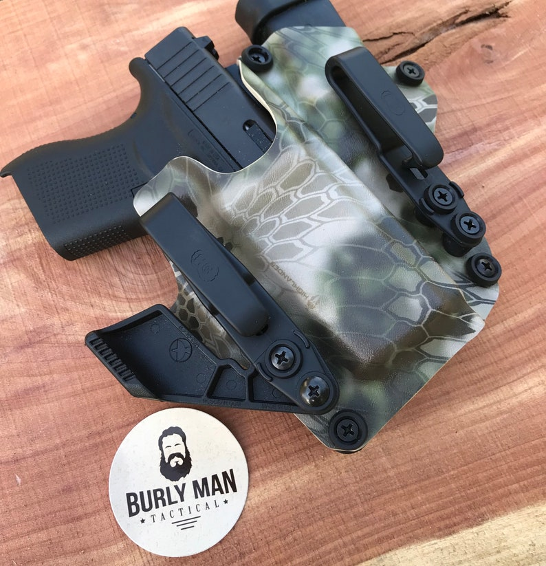 Glock 20 G20 G-20 Kydex Holster Compact Carbon Fiber Kryptek Raid Black IWB  Appendix Made in the USA by Burly Man Tactical