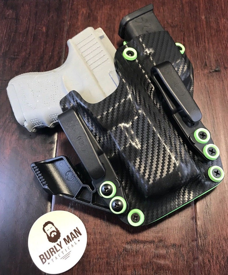 Glock 20 G20 G-20 Kydex Holster Compact Carbon Fiber Black Zombie Green IWB  Appendix Made in the USA by Burly Man Tactical