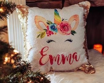 Birthday Gift for Girls - Sequin Pillow - Unicorn Sequin Pillow - Personalized Sequin Pillow - Unicorn Pillow - Custom Sequin Pillow