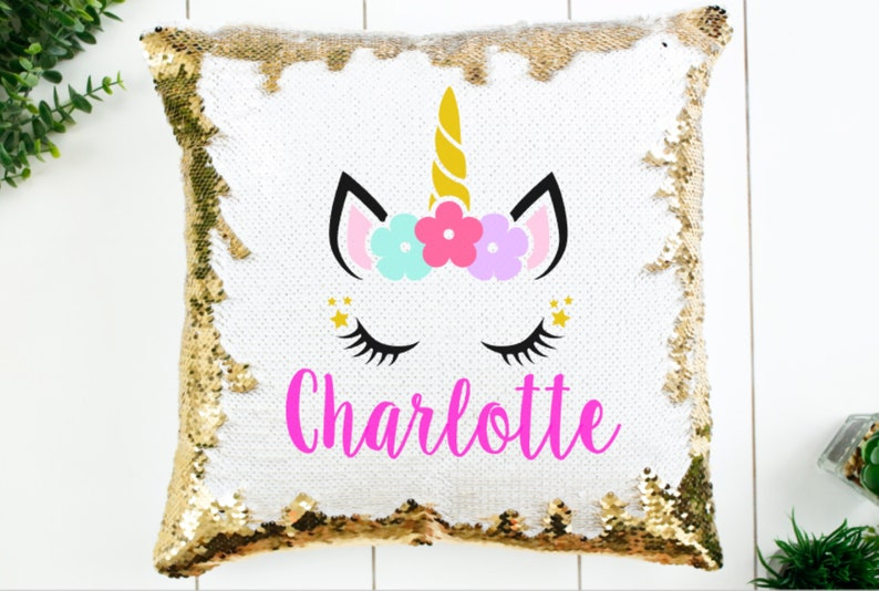 Sequin Pillow  Unicorn Sequin Pillow  Personalized Sequin image 0