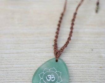 Macrium necklace, Macrium-Jewelry with healing stone, jade with OM